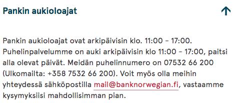 bank norwegian visa asiakaspalvelu
