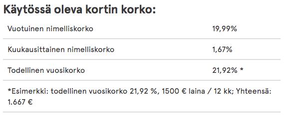 norwegian luottokortti korko