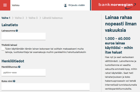 matkalaina bank norwegian